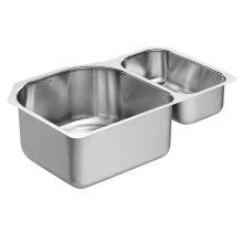 "1800 Series 30-1/4""x20"" stainless steel 18 gauge double bowl sink"