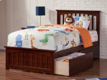 Mission Twin XL Bed with Matching Foot Board with 2 Urban Bed Drawers in Walnut