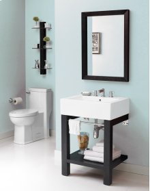 Infusion Lavatory Console With Rectangular Mirror and Shelf - Black Ash