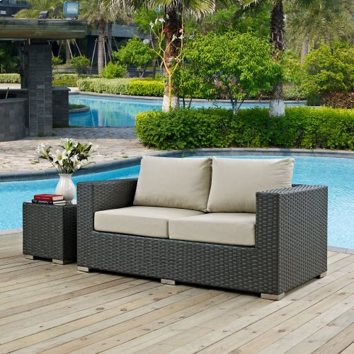 Sojourn Outdoor Patio Sunbrella® Loveseat in Canvas Antique Beige