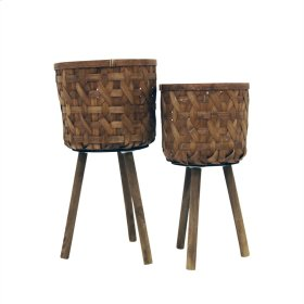 S/2 Bamboo Planters On Stand,natural