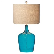 Blue Crackle Glass Lamp. 150W Max. 3 Way Switch.