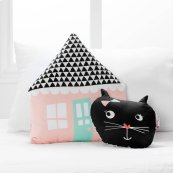 Night Garden Throw Pillows, 2- Pack - Pink and Black