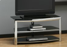 TV STAND - CHROME METAL / BLACK TEMPERED GLASS