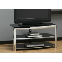 TV STAND - CHROME METAL / BLACK TEMPERED GLASS
