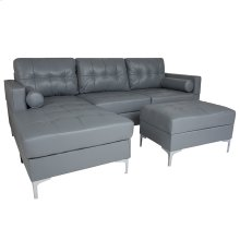Riverside Upholstered Tufted Back Sectional with Left Side Facing Chaise, Bolster Pillows and Ottoman Set in Gray Leather