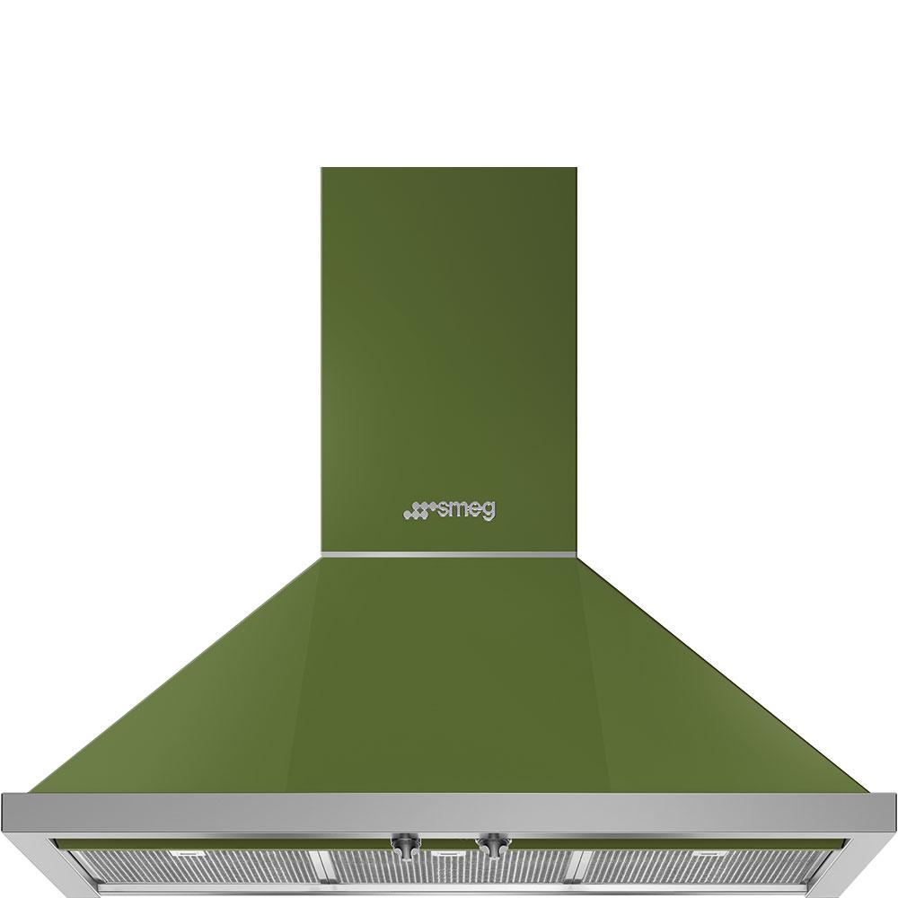 """Smeg36"""" Portofino Chimney Hood, Olive Green"""