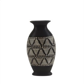 "Ceramic 14.5"" Tribal Vase, Brown"