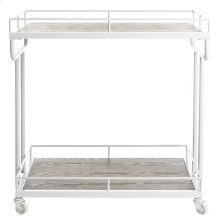 Dawson 2 Tier Rectangle Bar Cart - Rustic Oak / White