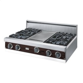 "Chocolate 36"" Open Burner Rangetop - VGRT (36"" wide, four burners 12"" wide griddle/simmer plate)"