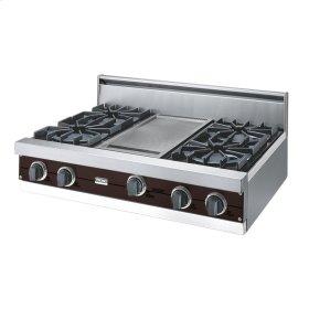 "Chocolate 36"" Open Burner Rangetop - VGRT (36"" wide, four burners 12"" wide griddle/simmer plate)"