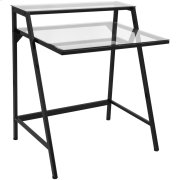 2 Tier Computer Desk - Black Metal, Clear Glass Product Image