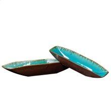 Sea Blue w/ Pewter Bottoms Ceramic Trays