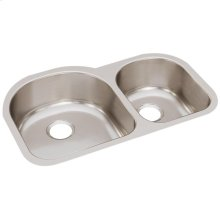 "Elkay Lustertone Classic Stainless Steel 31-1/4"" x 20"" x 7-1/2"", Offset 60/40 Double Bowl Undermount Sink"