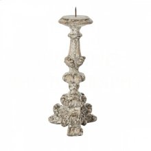 Parisian Distressed Gray Candlestick