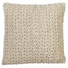 Ivory Textured Wave Velvet Pillow