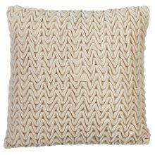 Ivory Textured Wave Velvet Pillow