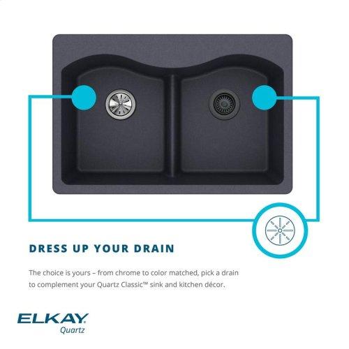 "Elkay Quartz Classic 33"" x 22"" x 9-1/2"", Offset Double Bowl Drop-in Sink, Black"