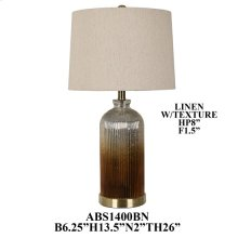 "26"" GLASS/ METAL TABLE LAMP, 2PC PK, 3.55'"
