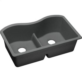 "Elkay Quartz Classic 33"" x 20"" x 9-1/2"", Equal Double Bowl Undermount Sink with Aqua Divide, Dusk Gray"