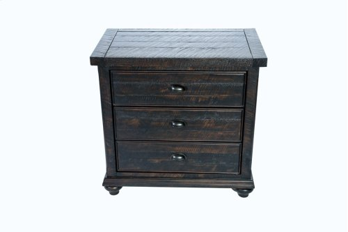 3 Drawer Nightstand Dk Brown Pine Finish Overall No Mirror Accent