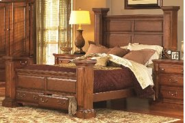 6/6 King Panel Bed - Antique Pine Finish