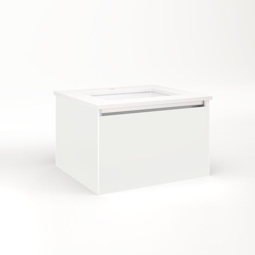 """Cartesian 24-1/8"""" X 15"""" X 21-3/4"""" Single Drawer Vanity In Beach With Slow-close Plumbing Drawer and Night Light In 5000k Temperature (cool Light)"""