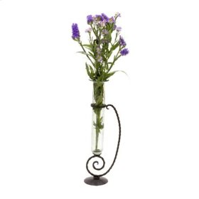 Small Vase w/ Wrought Iron Stand