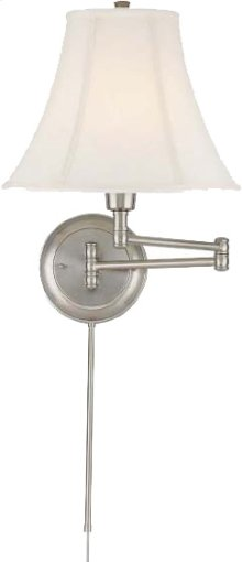 Swing Arm Wall Lamp - Ps/empire Fabric, E27 Cfl 25w/3-way
