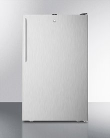 """ADA Compliant 20"""" Wide Freestanding Refrigerator-freezer With A Lock, Stainless Steel Door, Thin Handle and Black Cabinet"""