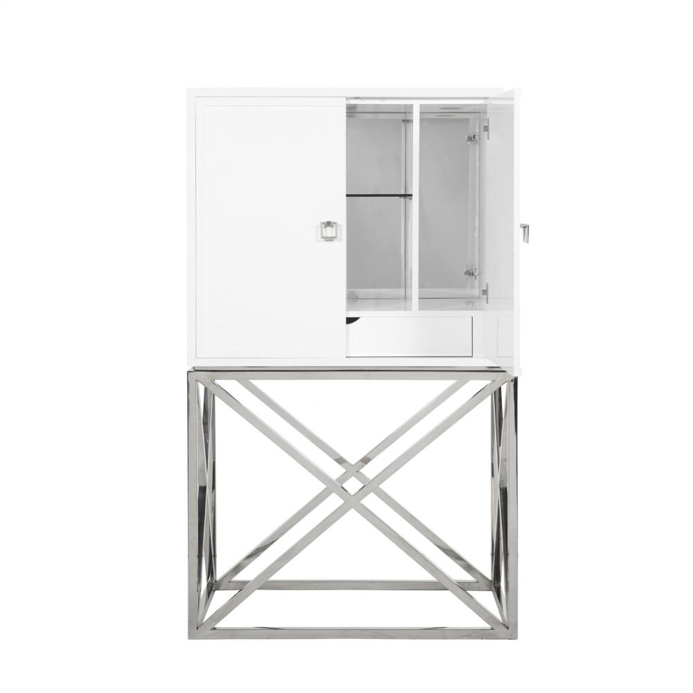Exceptional White Lacquer Bar Cabinet With Stainless Steel Hardware U0026 Base