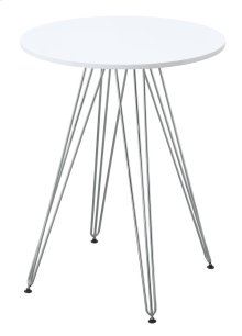 "Emerald Home Audrey Gathering Table-round 27.5"" Diameter White Top, Chrome Base D119-13-27wht"