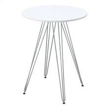 "Emerald Home Audrey Gathering Table-round 27.5"" Diameter White Top, Chrome Base D119-13-27wht"