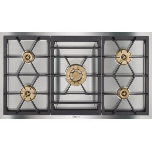 "Gaggenau400 series Vario 400 series gas cooktop Stainless steel Width 36"" (90 cm) Natural gas. For conversion to LP gas, LP kit (part #423414) must be ordered."