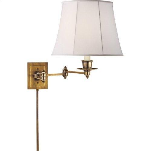 Visual Comfort S2000HAB-L Studio 19 inch 100 watt Hand-Rubbed Antique Brass Swing-Arm Wall Light in Linen