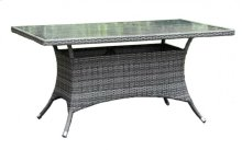 "Spectrum 36"" x 60"" Rectangular Dining Table KD w/grey tempered glass"