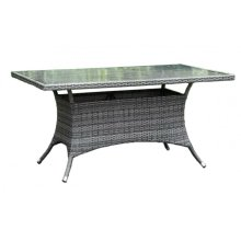 """Spectrum 36"""" x 60"""" Rectangular Dining Table KD w/grey tempered glass"""