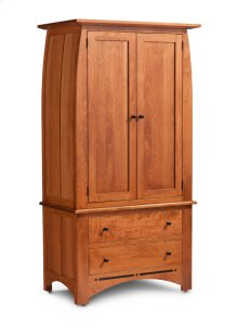 Aspen Tall Armoire on Chest with Inlay