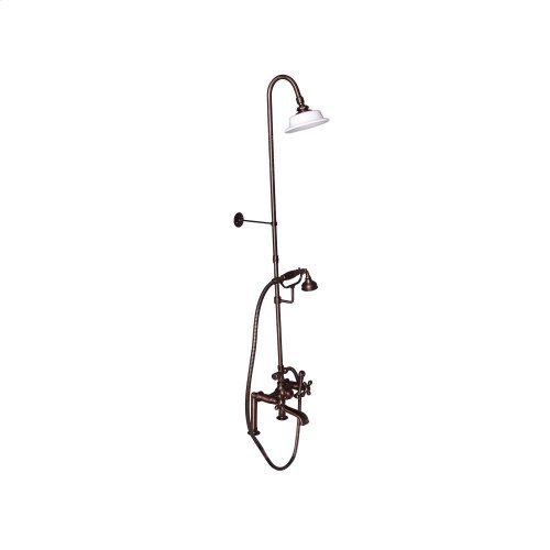 Tub Filler with Diverter Hand-Held Shower and Riser - Metal Cross Handles - Oil Rubbed Bronze