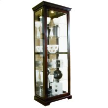 Tall 5 Shelf Curio Cabinet with Sliding Door in Cherry Brown