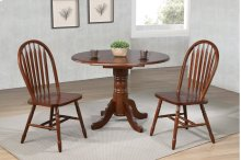"Sunset Trading 3 Piece 42"" Round Drop Leaf Dining Set with Arrowback Chairs"