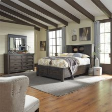 Queen Bookcase Bed, Dresser & Mirror