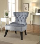 Colton Vintage Style Button Tufted Velvet Chair With Nailhead Detail and Spring Seat In Brilliance Sea Blue Fabric Product Image