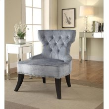Colton Vintage Style Button Tufted Velvet Chair With Nailhead Detail and Spring Seat In Brilliance Sea Blue Fabric