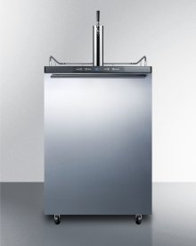 Freestanding Commercially Listed Beer Dispenser, Auto Defrost With Digital Thermostat, Stainless Steel Door, Horiztonal Handle, and Black Cabinet