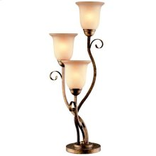 3 Lites Table Lamp - Aged Bronze/glass Shade, Type A 40wx3