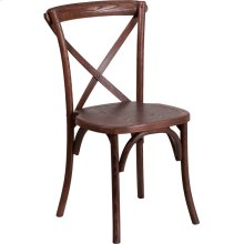 Stackable Mahogany Wood Cross Back Chair