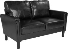 Bari Upholstered Living Room Loveseat in Black Leather