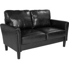 Bari Upholstered Living Room Loveseat in Black Leather