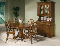 Classic Oak Burnished Rustic Pedestal Table Product Image
